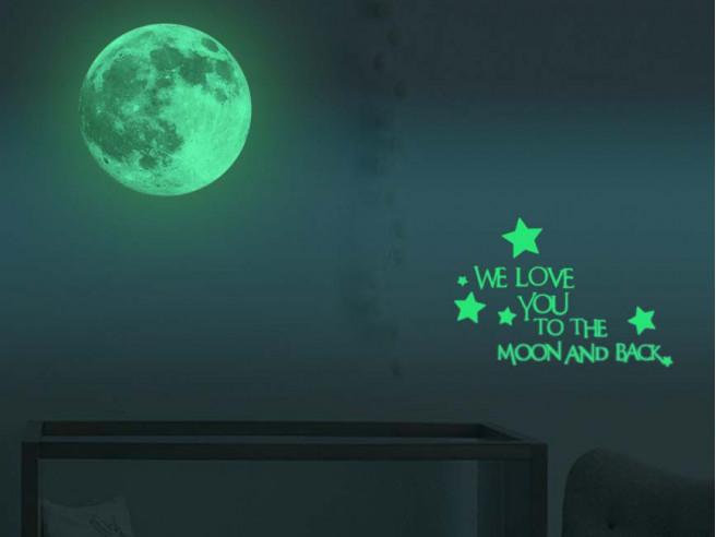 Leuchtender Wandsticker Mond