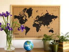 Kork-Pinnwand- Weltkarte