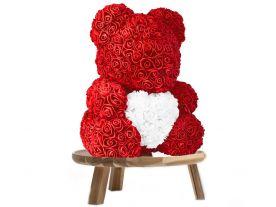 Ours en Roses 40 cm avec Coeur